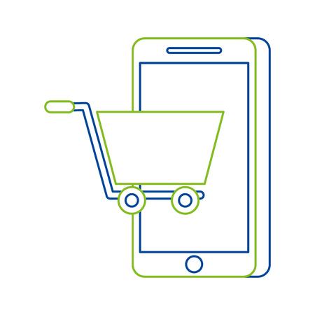 mobile phone shopping online technology digital vector illustration