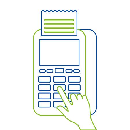 Bouton presse de la main nfc paiement paiement mobile illustration vectorielle Banque d'images - 90070648