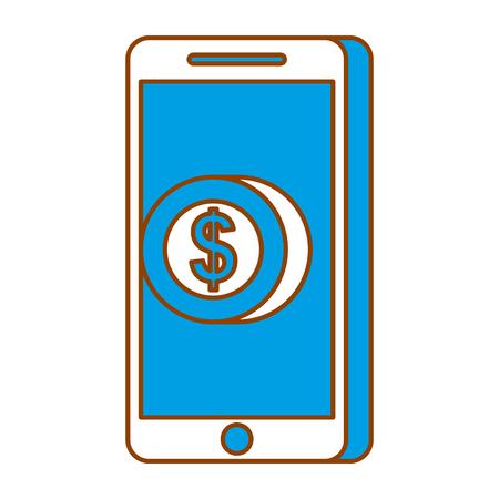 mobile phone pay coin money online technology vector illustration Ilustração