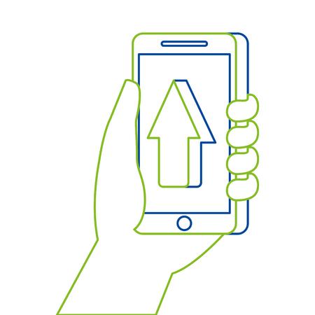 hand holding smartphone arrow cursor up concept vector illustration
