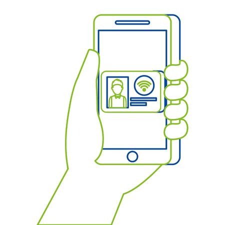 IDカードオンラインコマースベクトルイラスト付きハンドホールディングスマートフォン