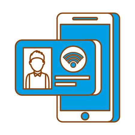 Id カード インター ネット オンライン技術のベクトル図と携帯電話 写真素材 - 90080022