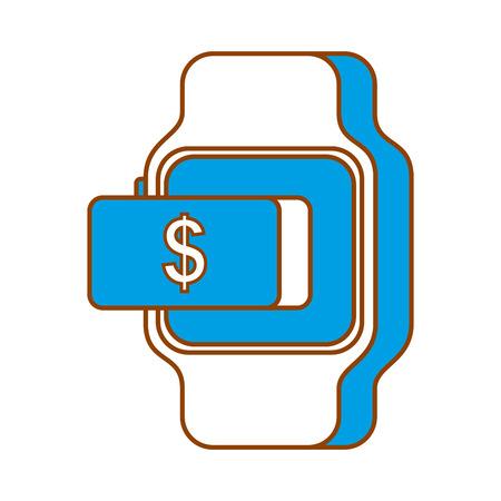 スマートウォッチ支払いお金オンライン ボタン ベクトル図