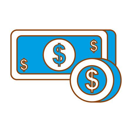 betaling online bankbiljet munt dollar geld valuta vectorillustratie Stock Illustratie