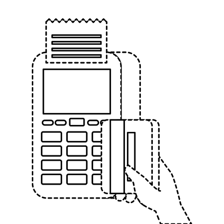 payment online dataphone hand holding credit card market vector illustration