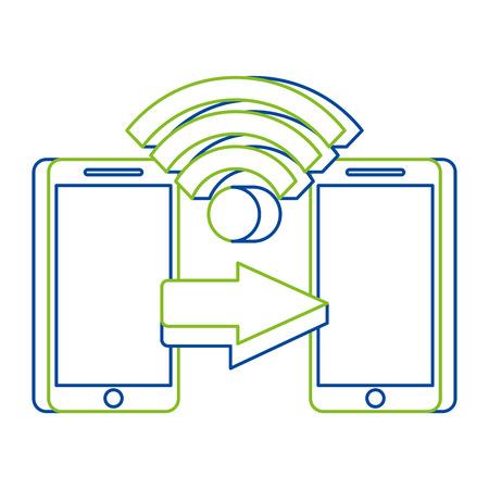 two mobile payment connection money transfer technology concept vector illustration Ilustração