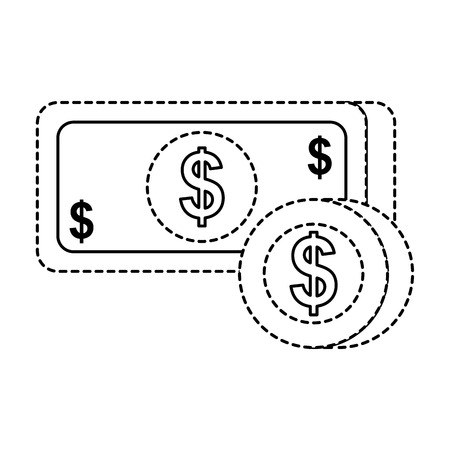 payment online banknote coin dollar money currency vector illustration Reklamní fotografie - 90080073