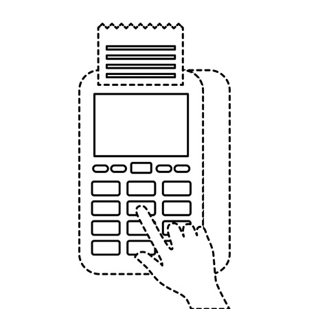 ハンドプレスボタンnfc支払い携帯電話データフォンベクトルイラスト