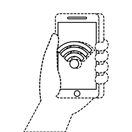 hand holding smartphone with wifi internet connection vector illustration