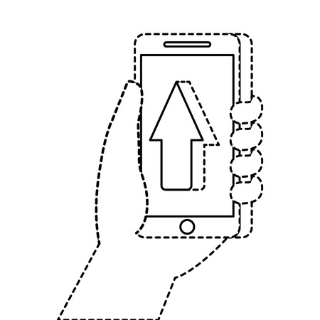 hand holding smartphone arrow cursor up concept vector illustration Фото со стока - 90080189
