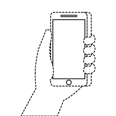 hand holding smartphone digital technology vector illustration Stock Photo