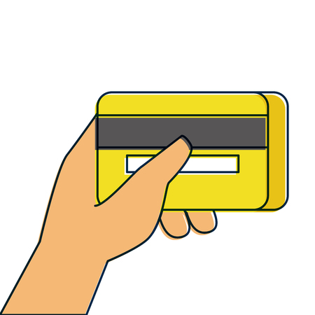 hand holding credit card banking online payment vector illustration Stock Vector - 90080731