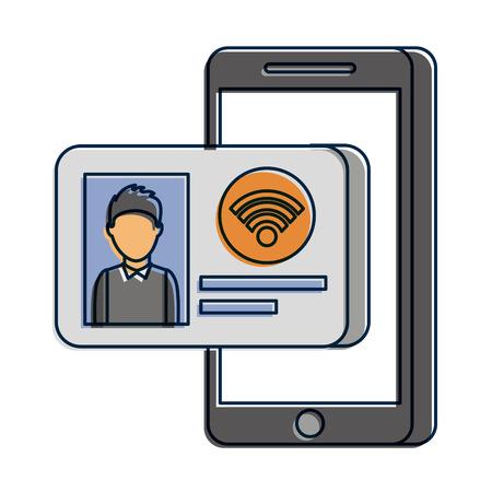 IDカードインターネットオンライン技術ベクトルイラスト付き携帯電話