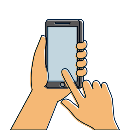 hand holding mobile phone touch screen digital vector illustration