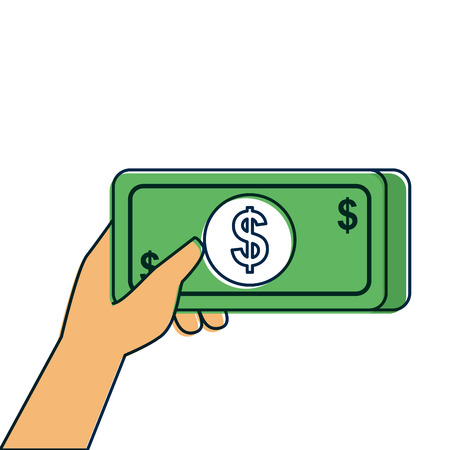 hand holding banknote money cash payment vector illustration