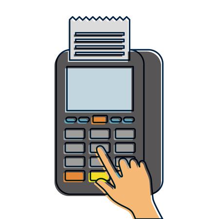 Bouton presse de la main nfc paiement paiement mobile illustration vectorielle Banque d'images - 90080966