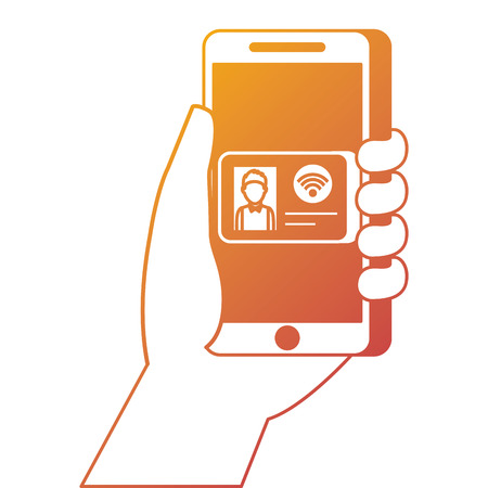 hand holding smartphone with id card online commerce vector illustration