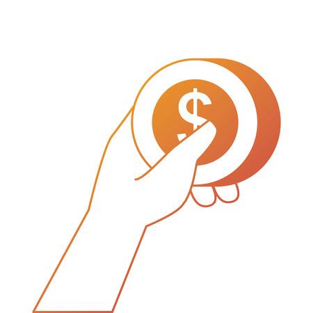 金コイン ドル支払い概念ベクトル図を持っている手