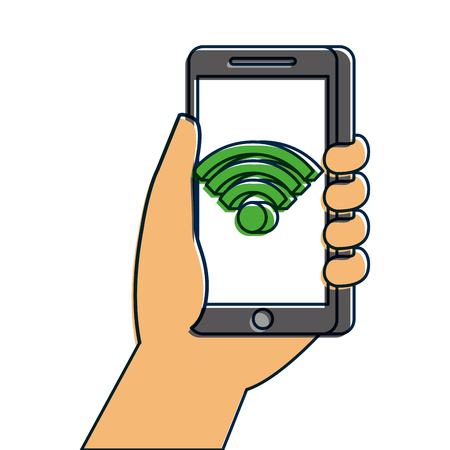 無線LANインターネット接続ベクトルイラスト付き手持ちスマートフォン  イラスト・ベクター素材