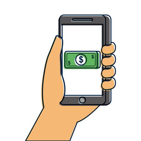 hand met smartphone bankbiljet geld betaling online vectorillustratie