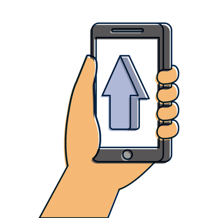 hand holding smartphone arrow cursor up concept vector illustration