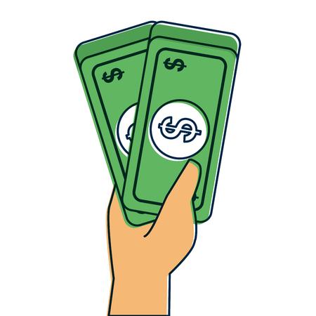 hand holding banknote money cash dollar vector illustration