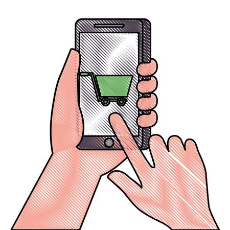 hand holding smartphone shopping cart online market vector illustration