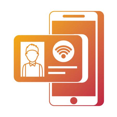 Id カード インター ネット オンライン技術のベクトル図と携帯電話 写真素材 - 90092819