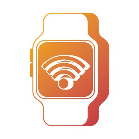 nfc smartwatch wifi connection internet technology vector illustration Illustration
