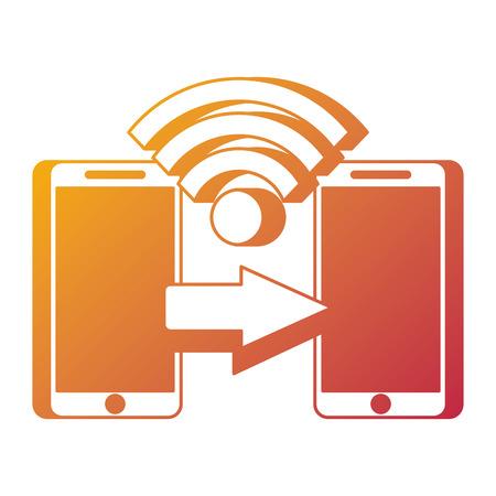 두 모바일 지불 연결 송금 기술 개념 벡터 일러스트 레이션 스톡 콘텐츠