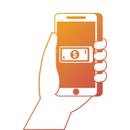hand holding smartphone with app money currency pay online vector illustration Illustration