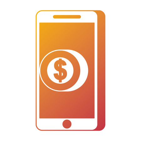 mobile phone pay coin money online technology vector illustration 向量圖像