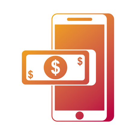 mobile phone money banknote payment online technology vector illustration