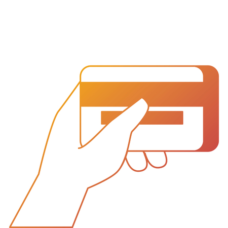 hand holding credit card banking online payment vector illustration