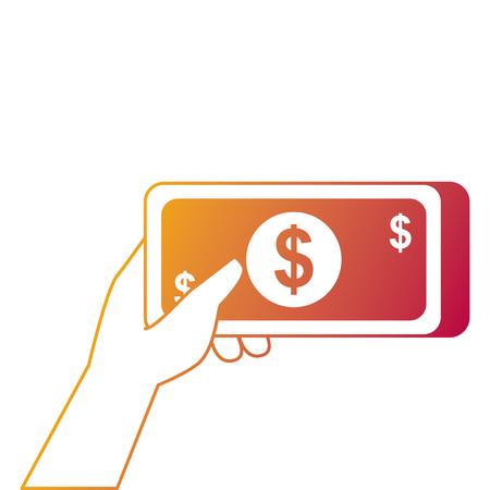 hand met bankbiljettengeld contante betaling vectorillustratie