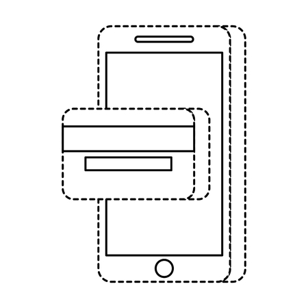 mobile phone online payment shop technology vector illustration