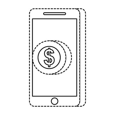 携帯電話ペイコインマネーオンライン技術ベクトルイラスト