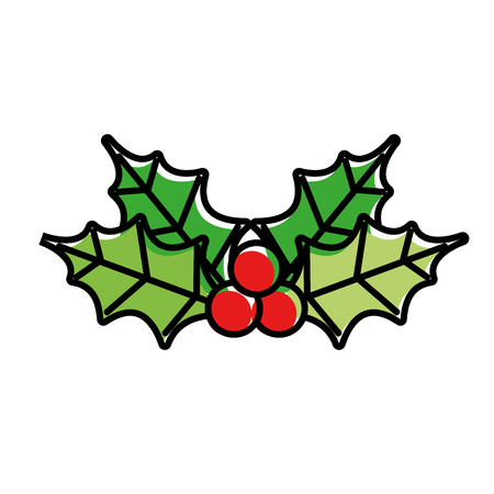 merry christmas decoration leaves holly berry natural vector illustration
