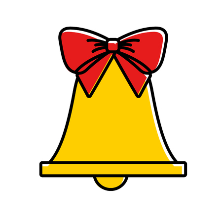 merry christmas bell and bow decoration traditional vector illustration