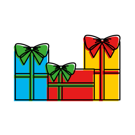 set of different gift boxes christmas presents design vector illustration