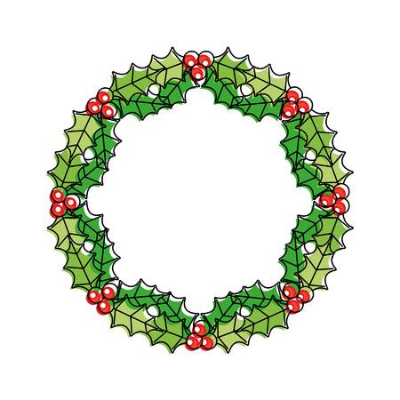 クリスマス リース果実ともみラウンド フレーム ベクトル図  イラスト・ベクター素材