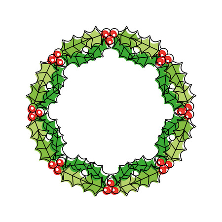 christmas wreath berries and fir leaves round frame vector illustration