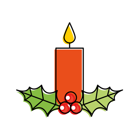 christmas candle burning with holly berry leaves decoration vector illustration Illusztráció