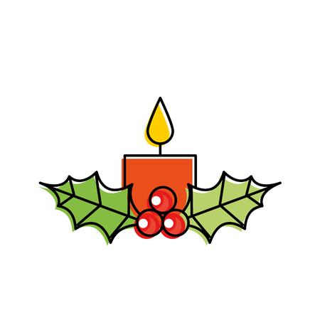 Vela de navidad ardiente con acebo bolas decoración ilustración vectorial Foto de archivo - 90109125