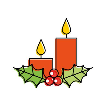 Navidad velas acebo bayas temporada vacaciones vector illustration Foto de archivo - 90109126