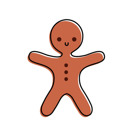 merry christmas gingerbread cookie sweet food vector illustration