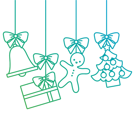 merry christmas tree gift gingerbread bell hanging decoration traditional vector illustration