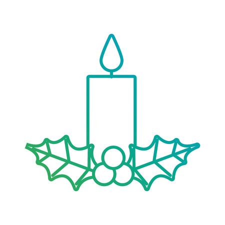 Vela de navidad ardiente con acebo bolas decoración ilustración vectorial Foto de archivo - 90110897