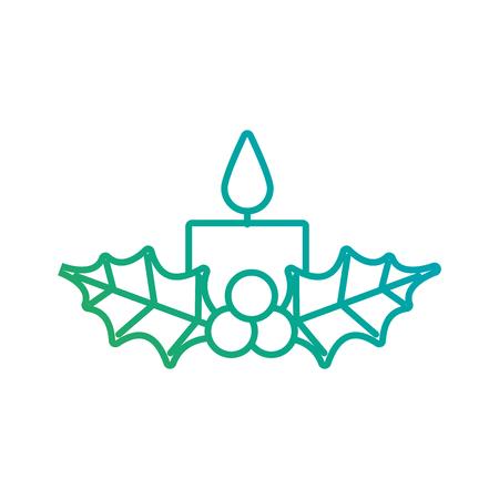 Vela de navidad ardiente con acebo bolas decoración ilustración vectorial Foto de archivo - 90110294
