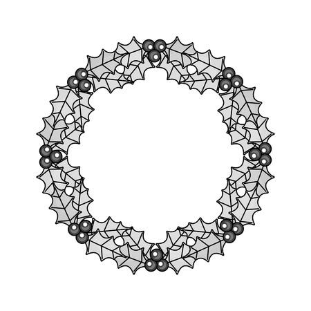 illustrazione rotonda di vettore della struttura delle bacche e delle foglie della corona della corona di natale